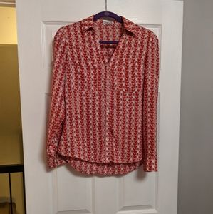 Express portifino shirt red butterfly print small